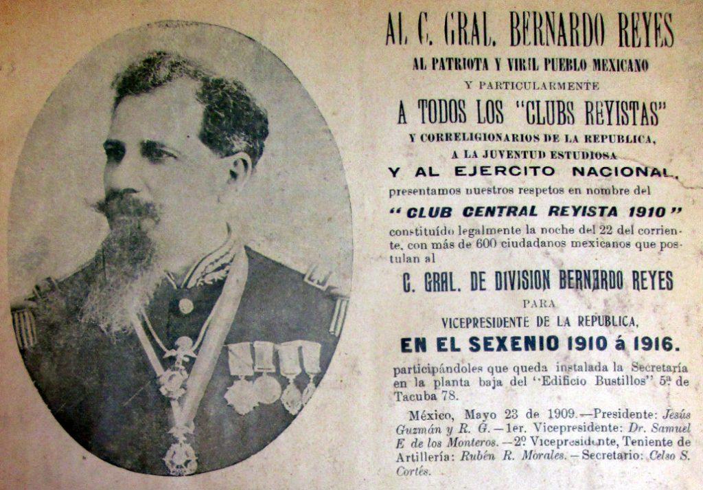 El Círculo Central Reyista 1910 propone al general Reyes como candidato para la vicepresidencia