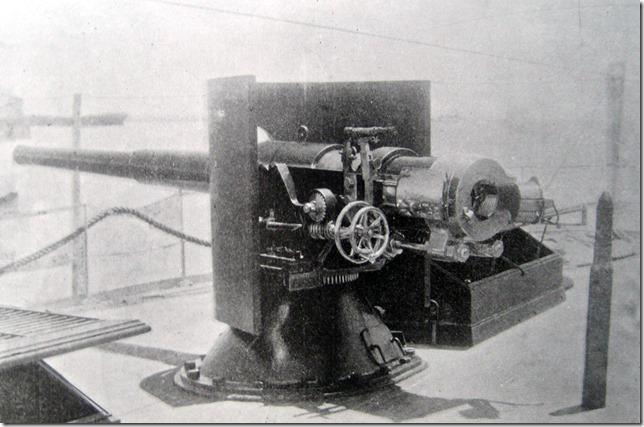 Cañonero de 1a VERACRUZ - Cañón de popa a estribor de 40 y 50 calibres tiro rápido sistema Bethlehem