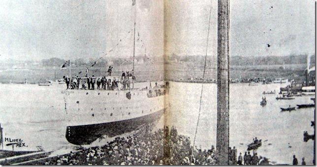 Cañonero de 1a VERACRUZ - Al momento de ser botado al agua